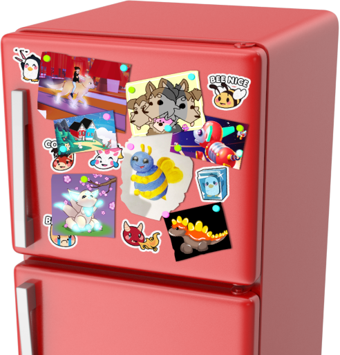 A refrigerator with Adopt Me stickers and fan art on the top door