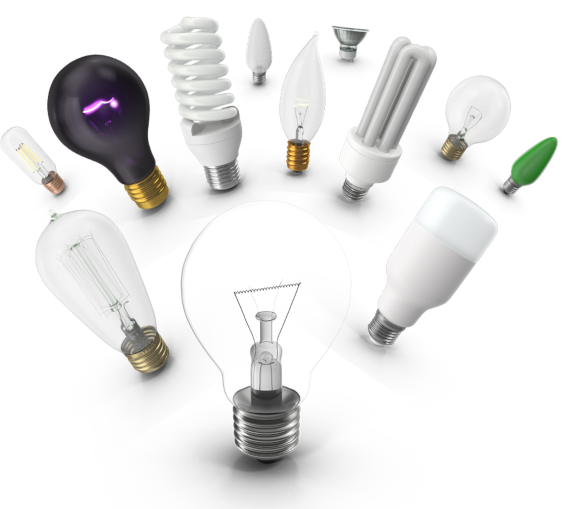 An assortment of light bulbs, each with its own shape, color, and size.